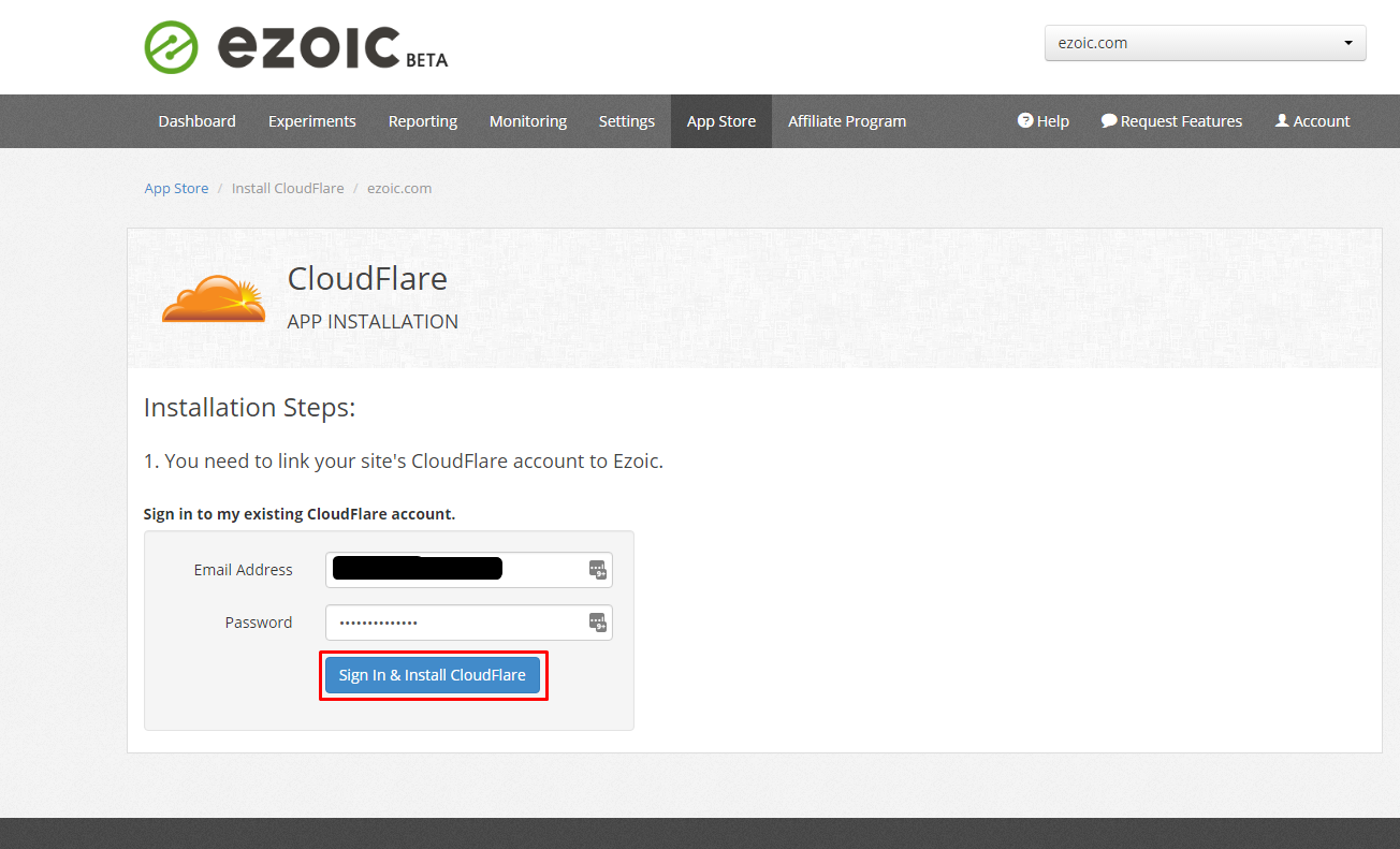 B3.  Log in to your Cloudflare account